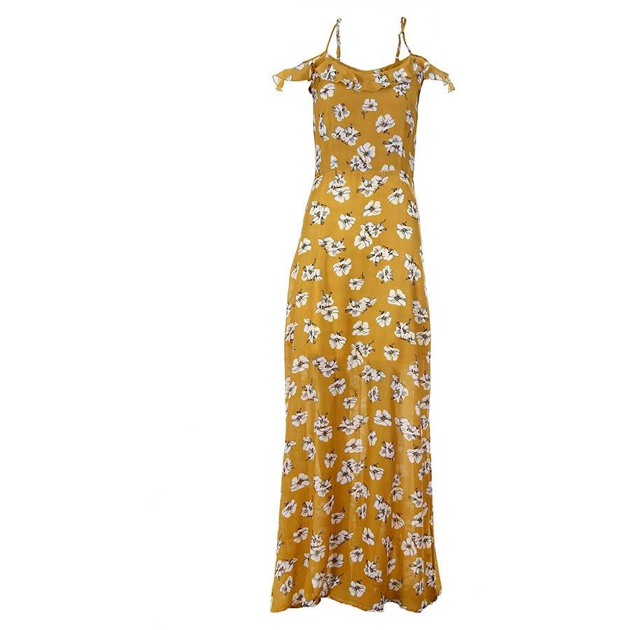 67422860b3 vestido longo floral feminino mixxon - amarelo. Carregando zoom.