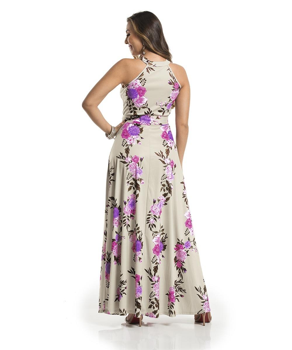 4c83a17ef Vestido Longo Floral Jersey Acetinado Rosa Com Bege - R$ 132,21 em ...