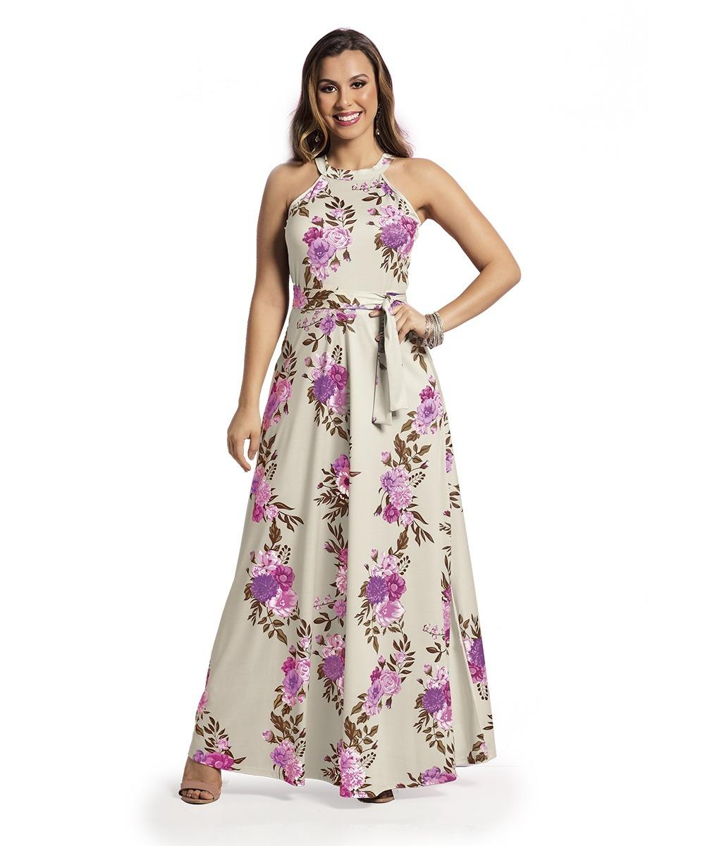 a074ad05f Vestido Longo Floral Jersey Acetinado Rosa Com Bege - R$ 139,90 em ...