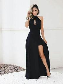 1b06f7d820 Vestido Longo Babado Frente Fenda - Vestidos Longos Femininas no Mercado  Livre Brasil
