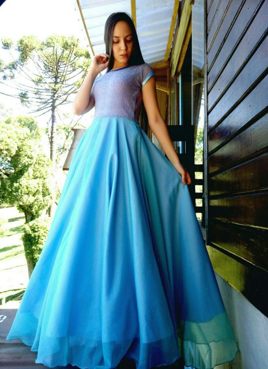 07bfef5ba vestido longo godê azul festa de casamento formatura mbuss. Carregando zoom.