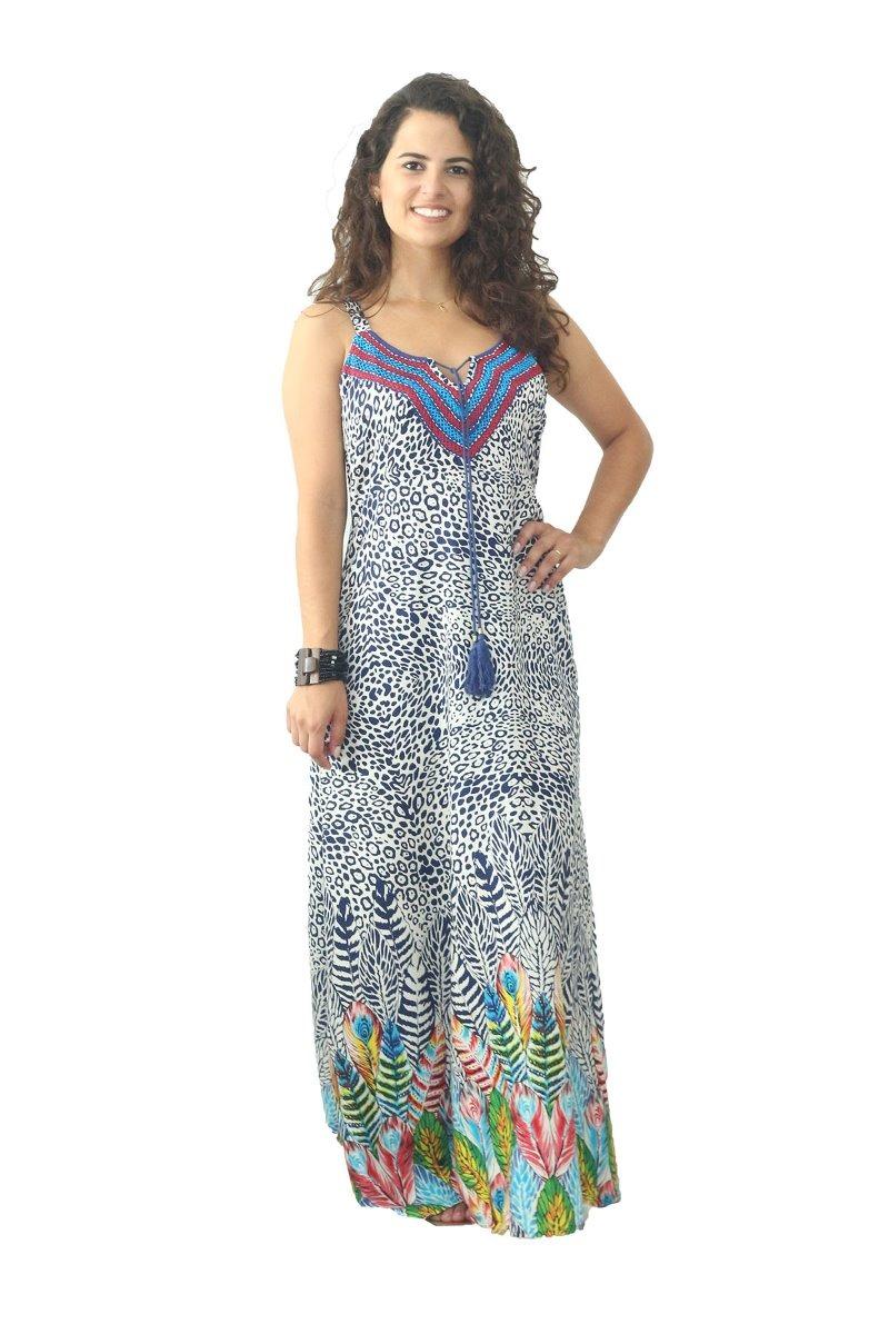 c8bd49df05 vestido longo indiano casual em viscose. Carregando zoom.