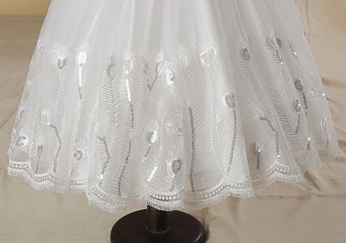 vestido longo infantil festa casamento daminha bordado