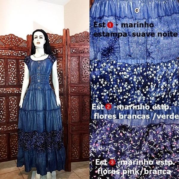 ee4350506 Vestido Longo Jeans Estilo Cigano Manga Ciganinha Retro - R$ 279,00 ...