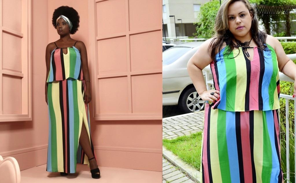 Vestido Longo Julia Plus Size Colorido Listras 46 Ou 48