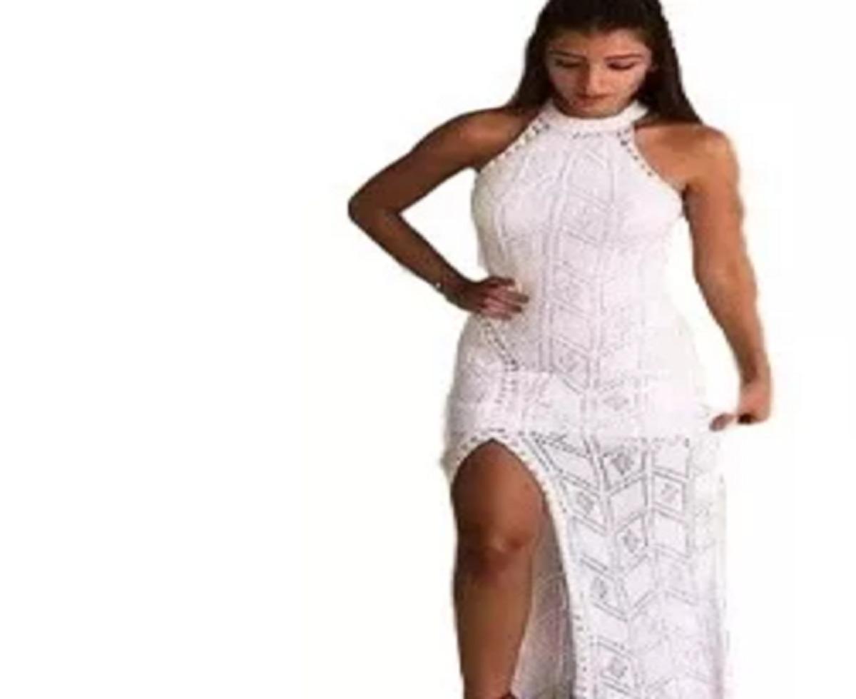 bfebb9afae vestido longo linha tricô regata festa fenda blogueiras moda. Carregando  zoom.