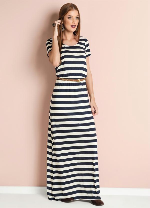 484a3a82f vestido longo listrado azul escuro e branco evangélico. Carregando zoom.