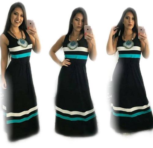 vestido longo listrado faixa acinturado regata