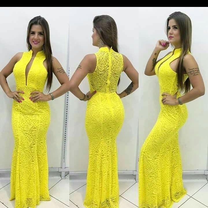 Vestido longo amarelo sereia madrinha formatura decote r 16900 vestido longo madrinha thecheapjerseys Choice Image