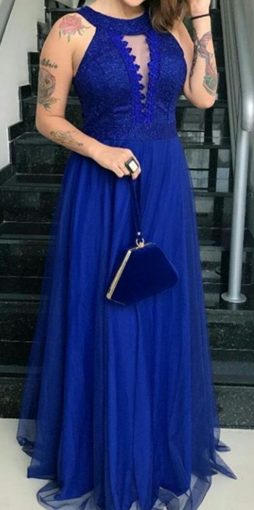 87a102b32 Vestido Festa Longo Madrinha Casamento Formatura Azul Cores - R$ 225,00 em  Mercado Livre