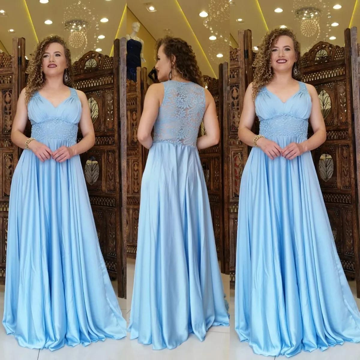 ab29e3730 Lindo Vestido Festa Longo Azul Serenity Madrinha Casamento - R$ 280 ...