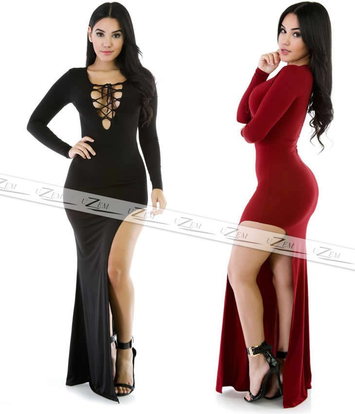 fcb56700b5 vestido longo manga comprida inverno vestido sereia fenda. Carregando zoom.