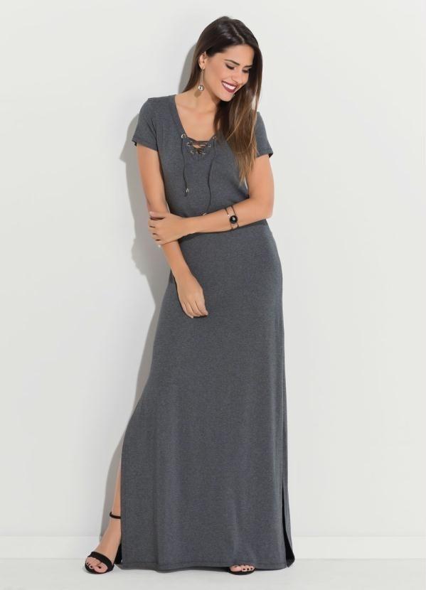 ff1facd83925 vestido longo manga curta cinza evangélico social plus size. Carregando zoom .