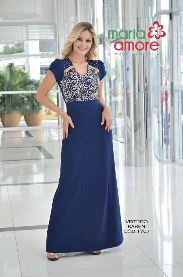 297ec0d8e Vestido Longo-maria Amore-moda Evangélica - R$ 209,00 em Mercado Livre