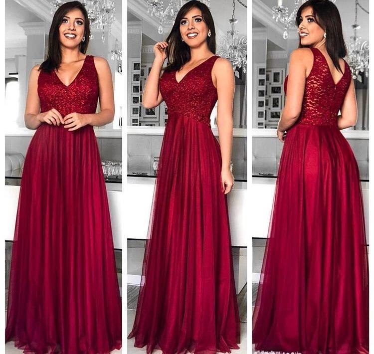 73c3c936a Vestido Longo Marsala Festa Noite Madrinha Casamento - R$ 229,90 em ...