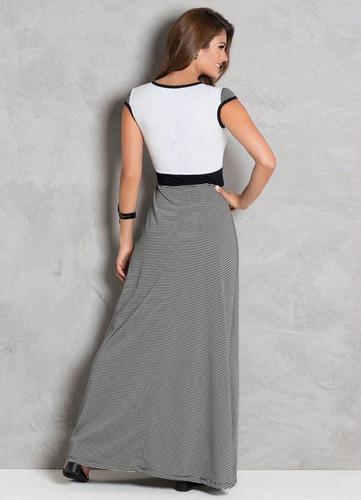 vestido longo moda evangélica  de festa branco listrado