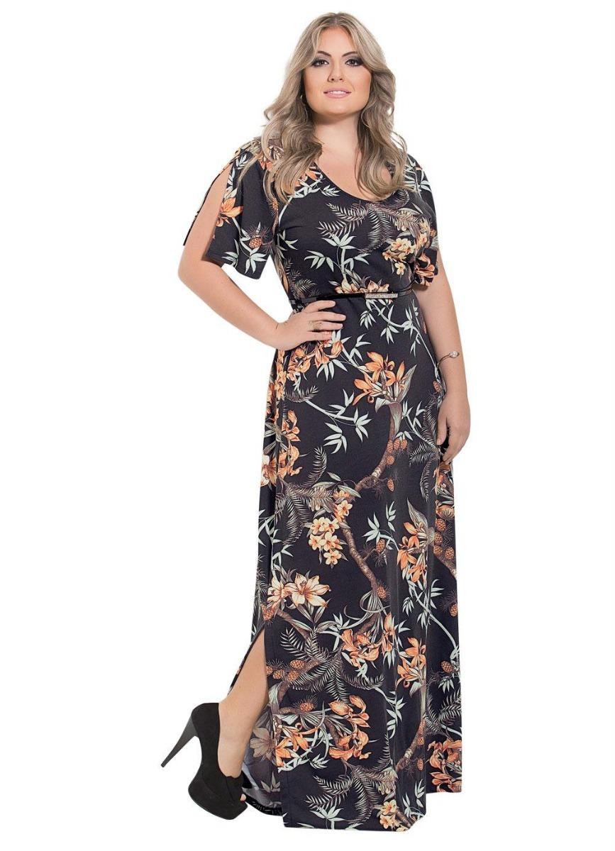adcde947ea5c vestido longo moda evangélica estampado elegante plus size. Carregando zoom.