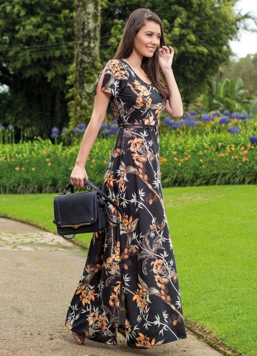 ac29846c3 vestido longo moda evangélica estampado elegante plus size. Carregando zoom.