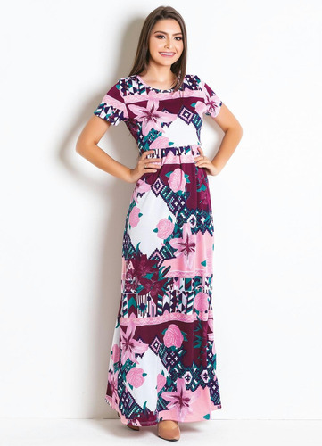 vestido longo moda evangélica florido de festa feminino