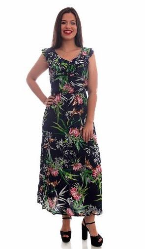 efd6e691e Vestido Longo Moda Evangélica Lindo Em Viscose Estampado - R$ 48,99 ...