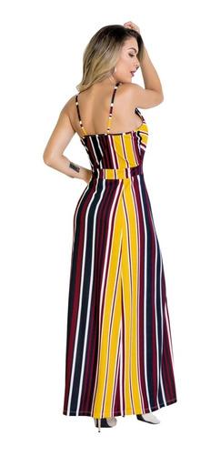 vestido longo moda evangélica listrado alças festa feminino