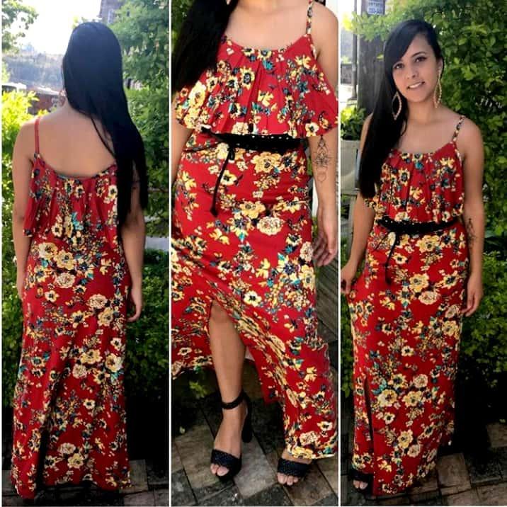 790a2eb38 Vestido Longo Moda Feminina Casual Estampado Verao 2019 - R$ 58,00 ...