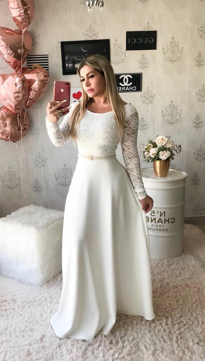 a44d36d97 Vestido Longo Gode Casamento Civil Noiva Brinde Cinto Cetim - R$ 247 ...