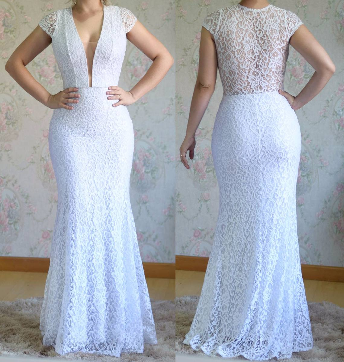 Vestido Longo Noiva Branco Em Renda 045