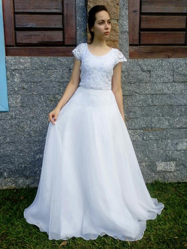 Vestido Longo Noiva Godê Simples Bonito Barato Casamento