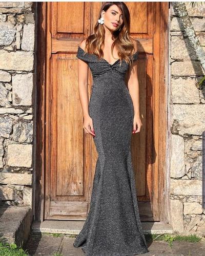 vestido longo ombro a ombro lurex premium lançamento 2019