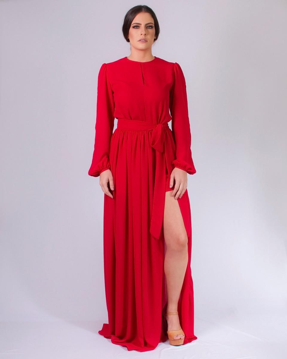 990775f0e vestido longo para festa de manga longa vermelho tanamalasm. Carregando zoom .