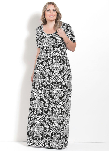 vestido longo plus size moda evangélica de festa feminino