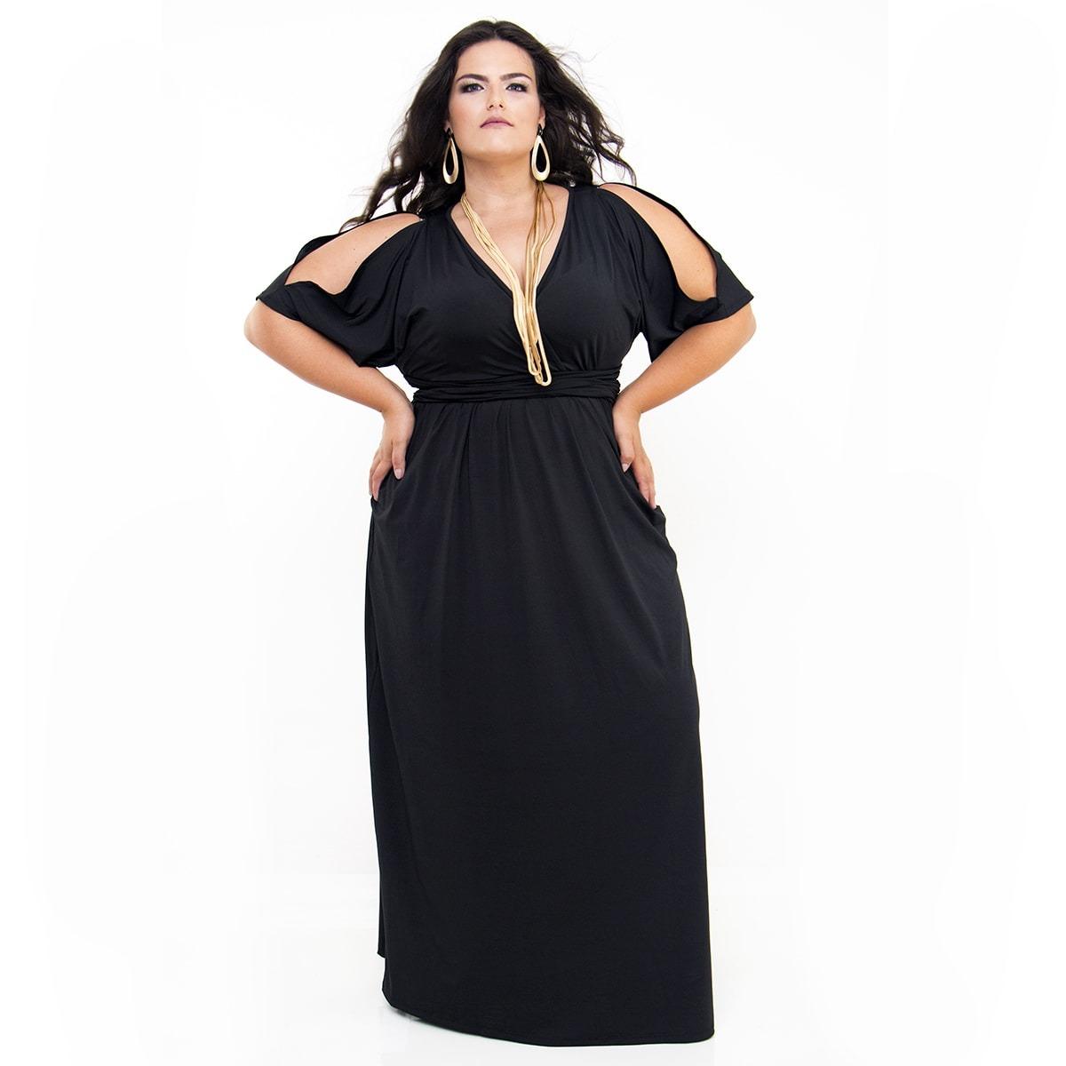 0886ee34510d vestido longo plus size preto malha fria poliéster elastano. Carregando  zoom.