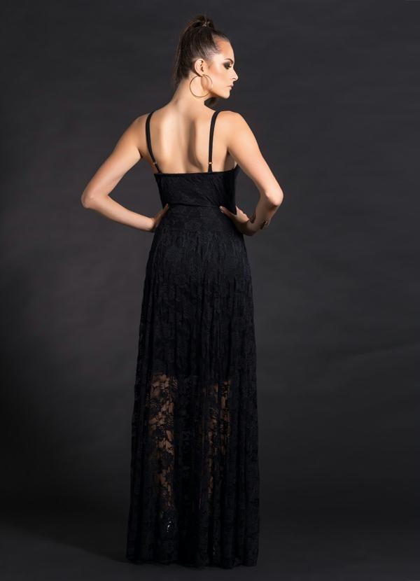 1edcab3ae8 vestido longo preto em renda com transparência - quintess. Carregando zoom.