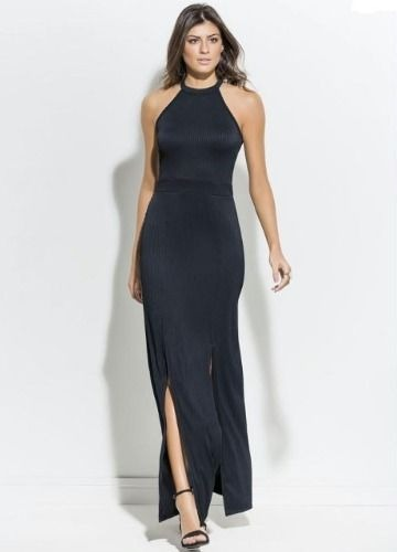 799ac1fa5 Vestido Longo Preto Festa Social Feminino Luxo Plus Size - R  122