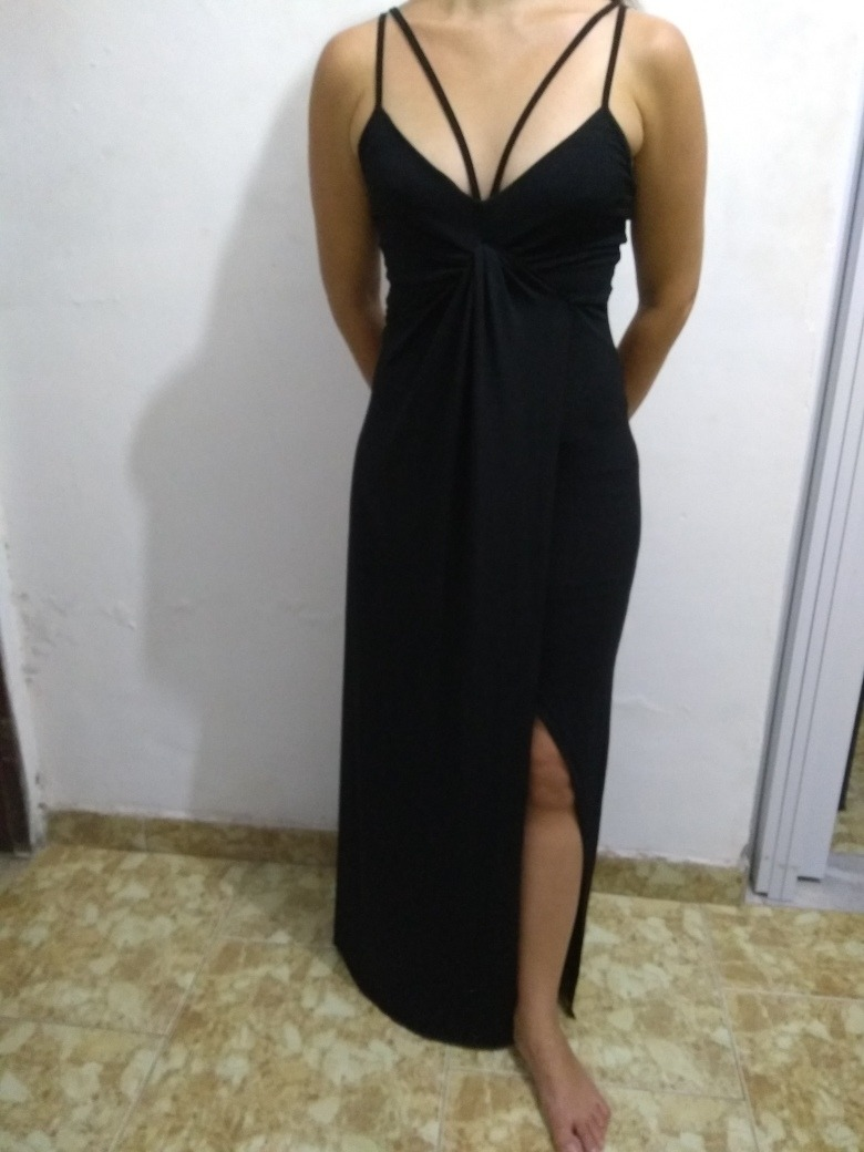 5bed59fc83 vestido longo preto morena rosa p transpasse busto fenda. Carregando zoom.