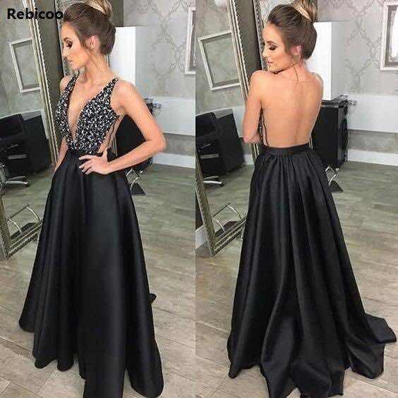 Vestido Longo Preto Para Formatura Madrinhas Festa Casamento
