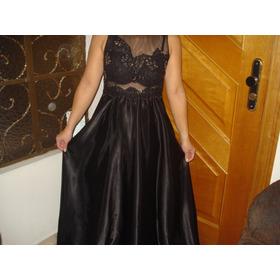 Vestido Longo Preto, Renda,tule,cetim Com Pedrarias - Novo