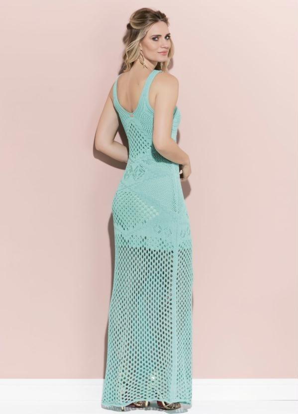7b5ee35a9 Vestido Longo Quintess Turquesa Em Tricot - R$ 167,90 em Mercado Livre