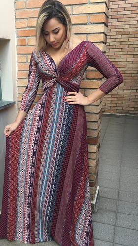 vestido longo ref bordô manga viscolycra