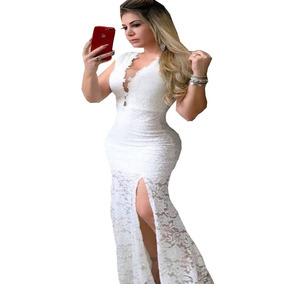 8e73b25e5 Vestido Em Renda Longo Festa Decote V Rosê Tule Na Frente - Vestidos no  Mercado Livre Brasil