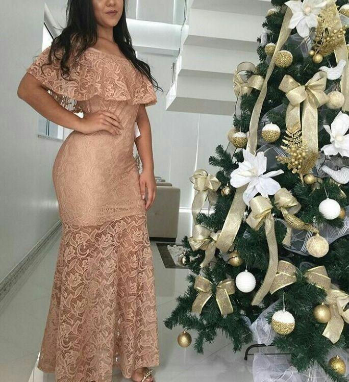 cfe1167cc53f Vestido Longo Renda Festa Madrinha Casamento Babado Vm001 - R$ 150 ...