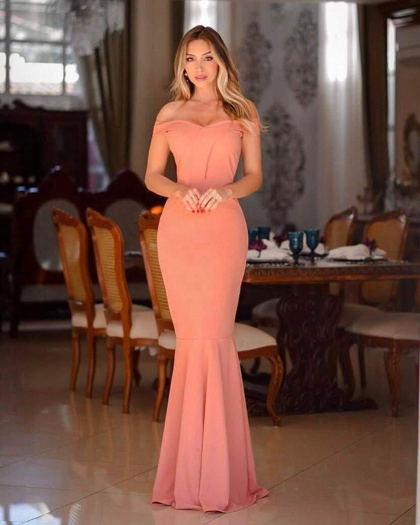 9c3a28ab0 vestido longo rose ombro festa madrinha formatura sereia. Carregando zoom.