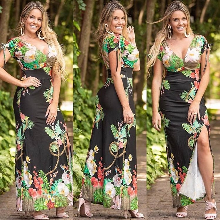 74c1e129e Vestido Longo Estampado Vários Modelos Oferta Roupa Feminina - R$ 69 ...