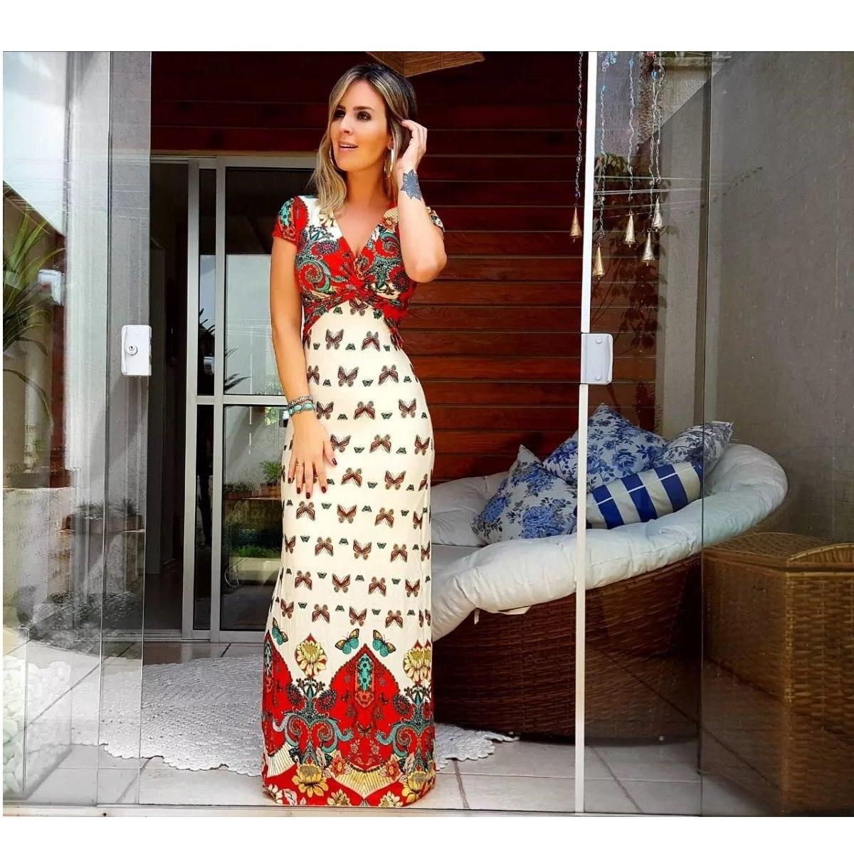 7c025e3de Vestido Estampado Longo Com Recortes Roupas Femininas - R$ 116,99 em ...