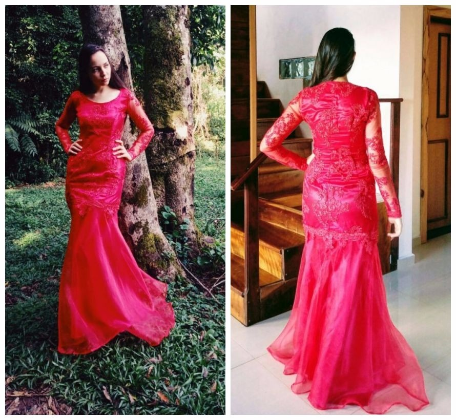c0cbc741d vestido longo sereia mangas longas vermelho em renda festa. Carregando zoom.