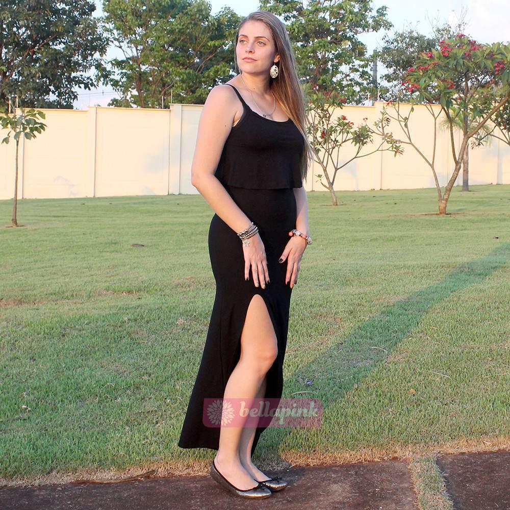 8979c3346e vestido longo sereia preto viscolycra com fenda e babado. Carregando zoom.