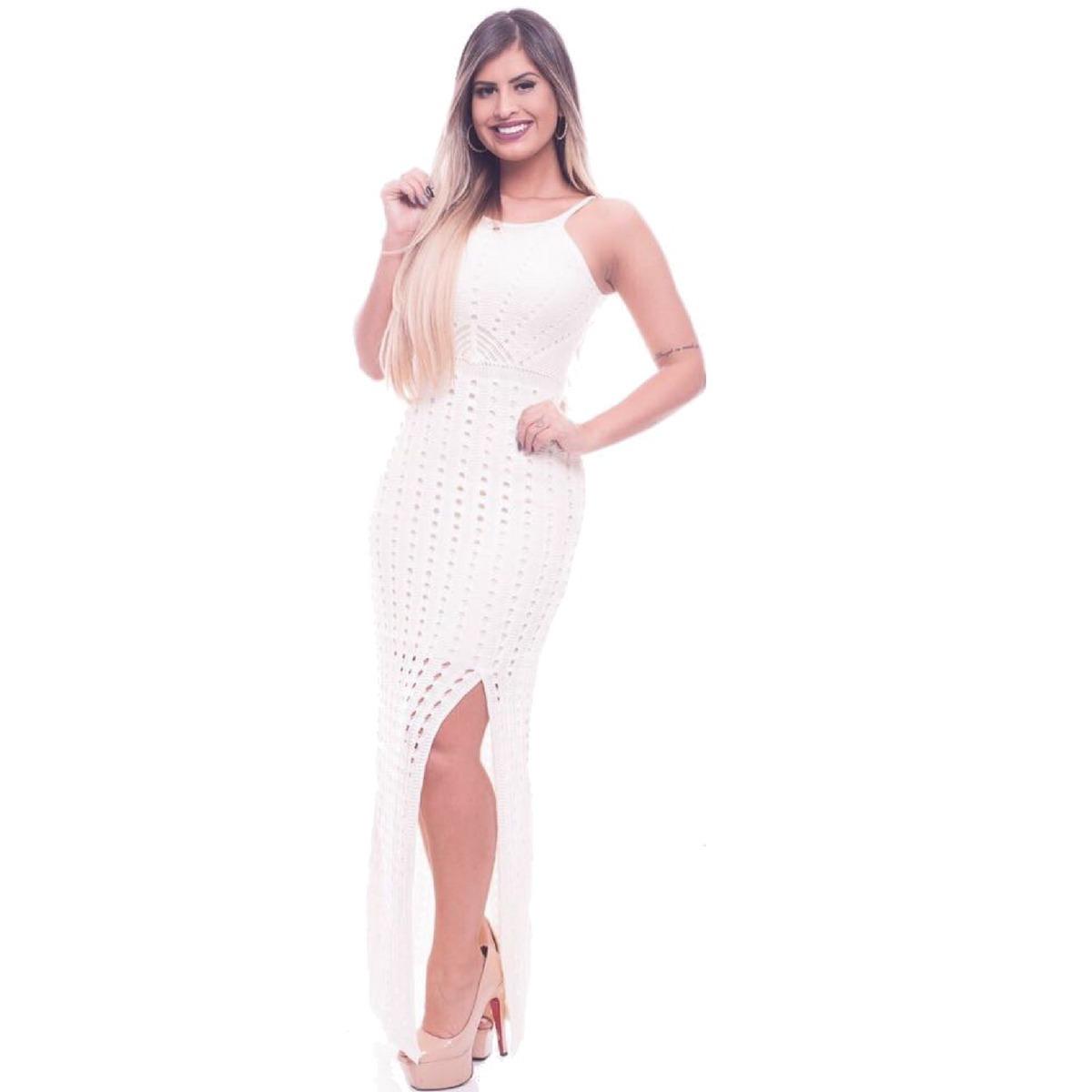 ea95ca1e99 vestido longo simples com renda tricot trico moda feminina. Carregando zoom.