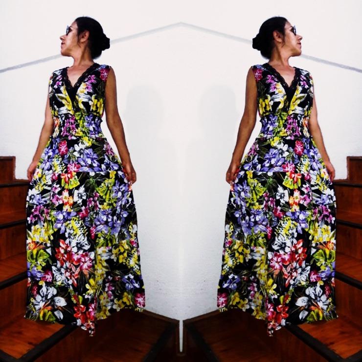 efad772c8f Vestido Longo Tecido Algodão Com Renda Floral Babados - R  229