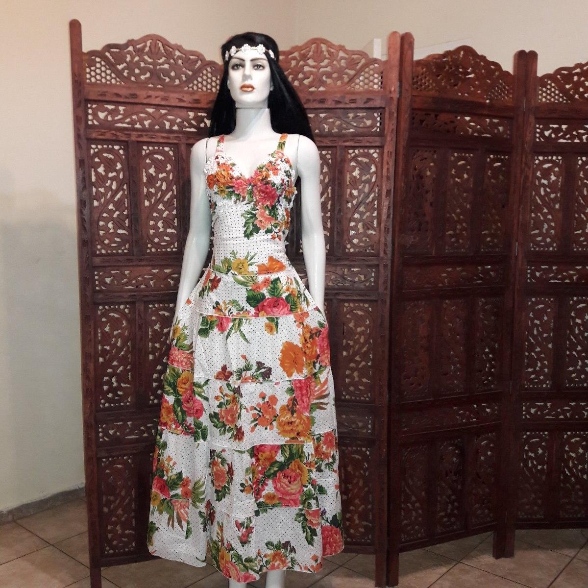 8d80f23297 vestido longo tecido algodão floral retro do vintage. Carregando zoom.